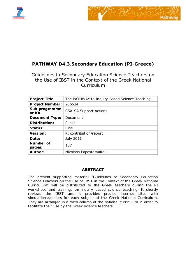 PATHWAY D4.3.Secondary Education (PI-Greece)Guidelines to Secondary Education Science Teachers onthe Use of IBST in the Co...