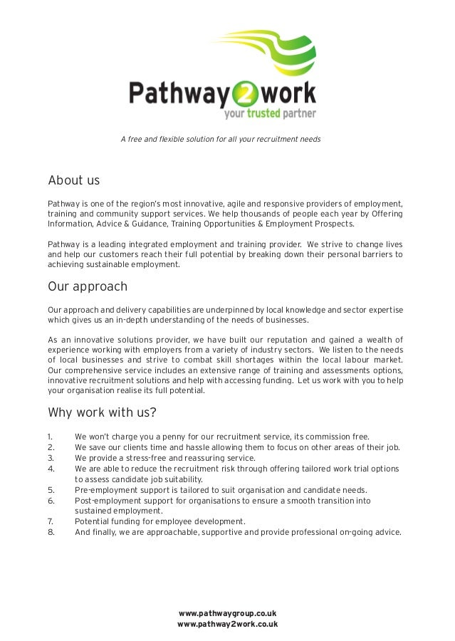 About us Pathway is one of the region's most innovative, agile and responsive providers of employment, training and commun...