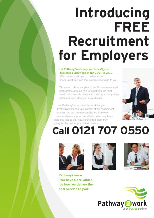 """Introducing FREE Recruitment for Employers Call 0121 707 0550 Pathway2work- """"We have Core values, it's how we deliver the ..."""