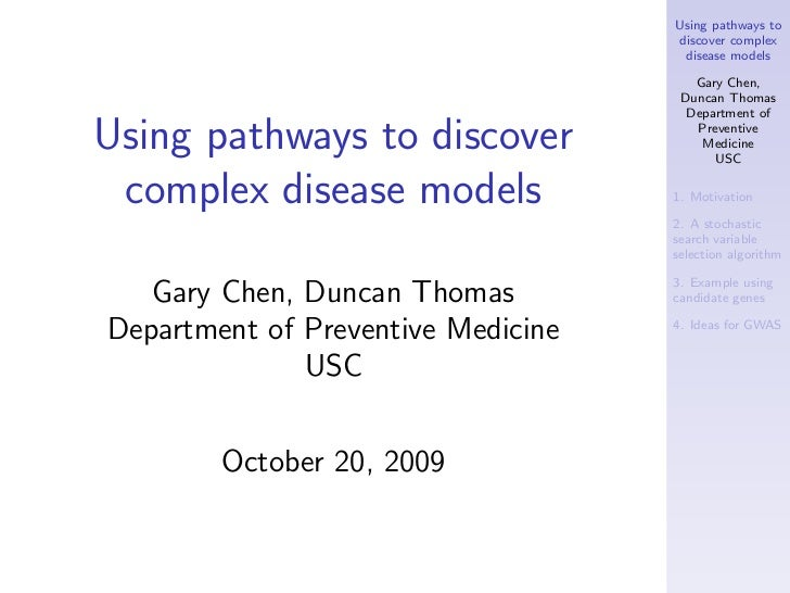 Using pathways to                                    discover complex                                     disease models  ...