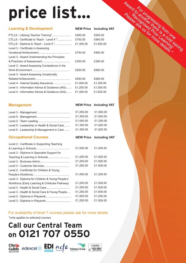 Pathway Professional Price Leaflet