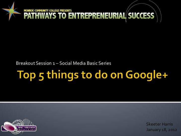 Breakout Session 1 – Social Media Basic Series Skeeter Harris January 18, 2012