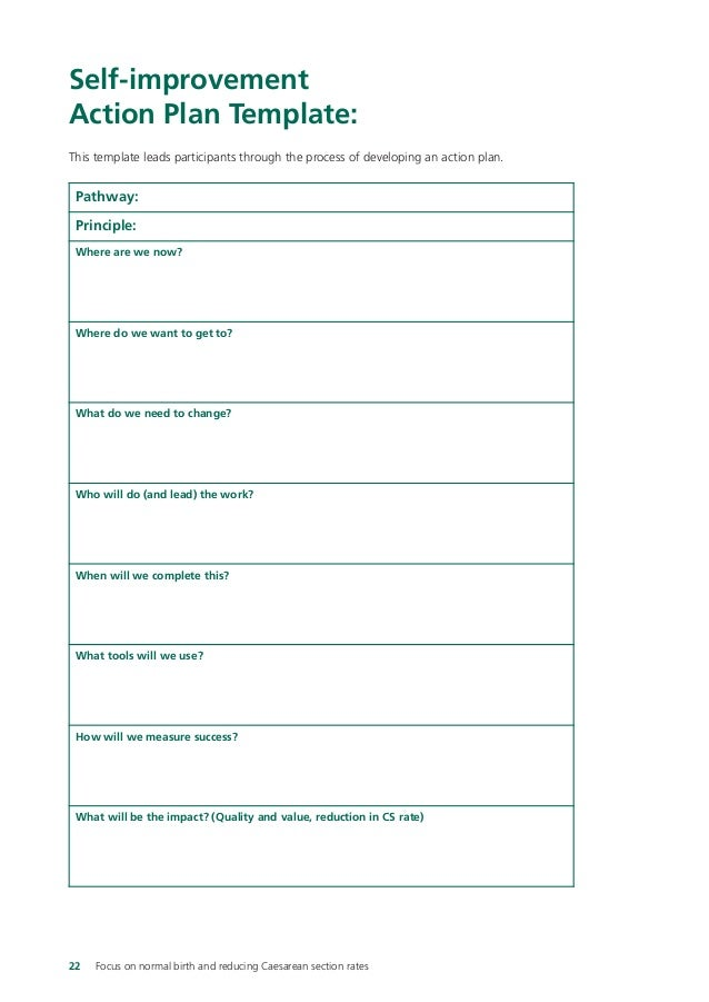 Pathways to success focus on normal birth – Personal Improvement Plan Template