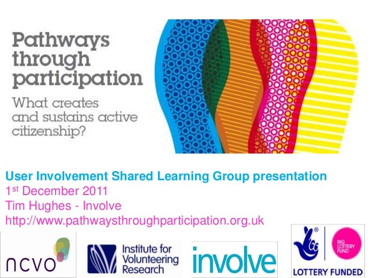 User Involvement Shared Learning Group presentation1st December 2011Tim Hughes - Involvehttp://www.pathwaysthroughparticip...
