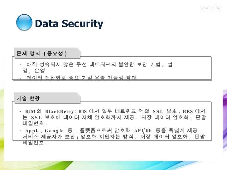 Data Security 문제 정의  ( 중요성 ) <ul><ul><li>-  아직 성숙되지 않은 무선 네트워크의 불안한 보안 기법 ,  설정 ,  운영 </li></ul></ul><ul><ul><li>-  데이터 전산...