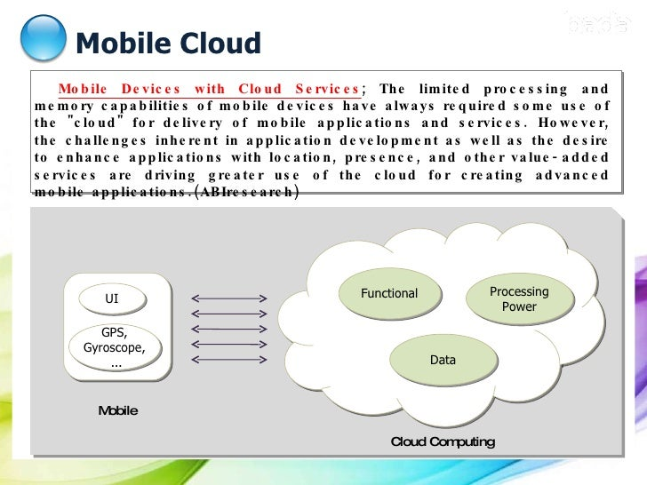 Mobile Cloud Mobile Devices with Cloud Services ; The limited processing and memory capabilities of mobile devices have al...