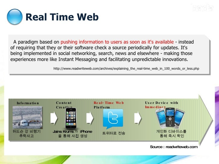 Real Time Web A paradigm based on  pushing information to users as soon as it's available  - instead of requiring that the...