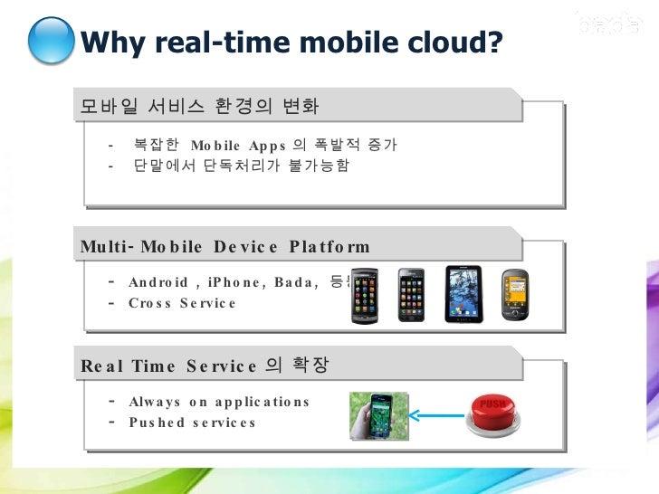 Why real-time mobile cloud? 모바일 서비스 환경의 변화  <ul><ul><li>-  복잡한  Mobile Apps 의 폭발적 증가 </li></ul></ul><ul><ul><li>-  단말에서 단독...