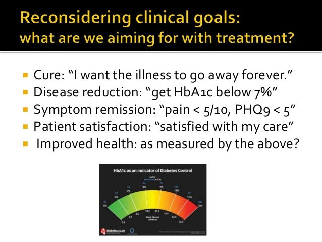 """ Cure: """"I want the illness to go away forever.""""  Disease reduction: """"get HbA1c below 7%""""  Symptom remission: """"pain < 5/..."""