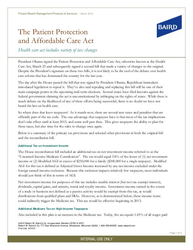 The Patient Protection and Affordable Care Act Health care act includes variety of tax changes Private Wealth Management P...