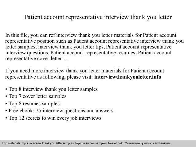 patient account representative interview thank you letter in this file you can ref interview thank
