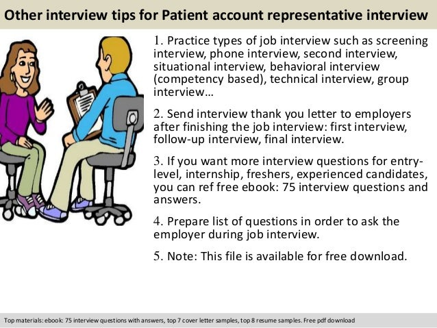 free pdf download 11 other interview tips for patient account representative