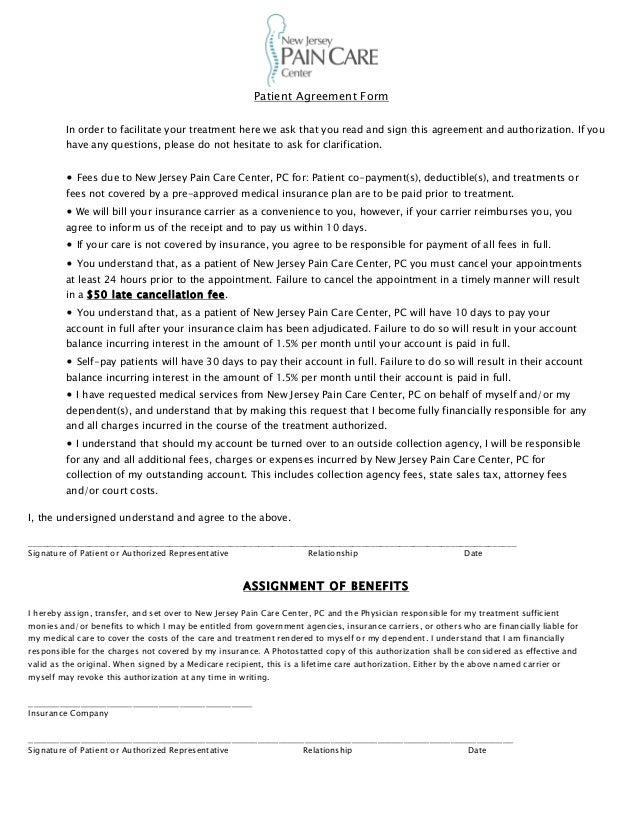 Patient Payment Agreement Form Erkalnathandedecker