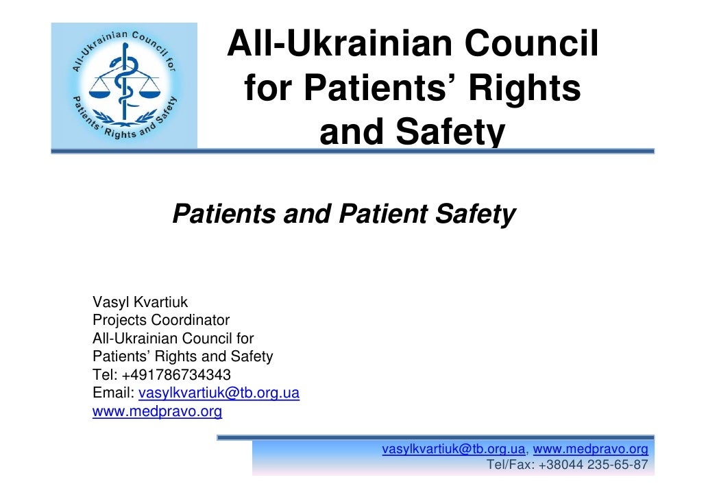 All-Ukrainian Council                     for Patients' Rights                          and Safety             Patients an...