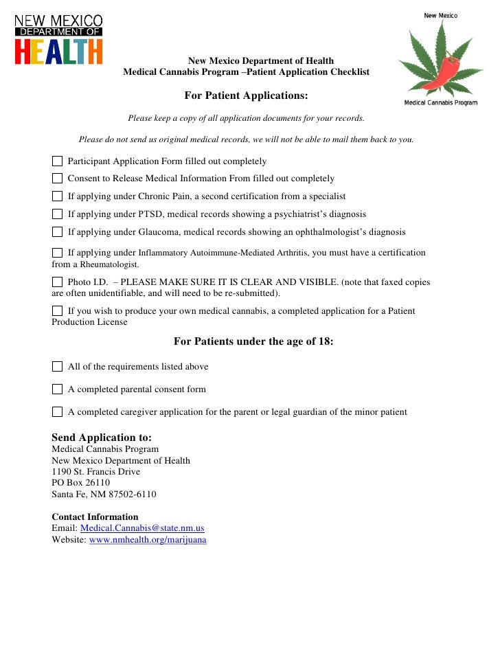New Mexico Department of Health                   Medical Cannabis Program –Patient Application Checklist                 ...