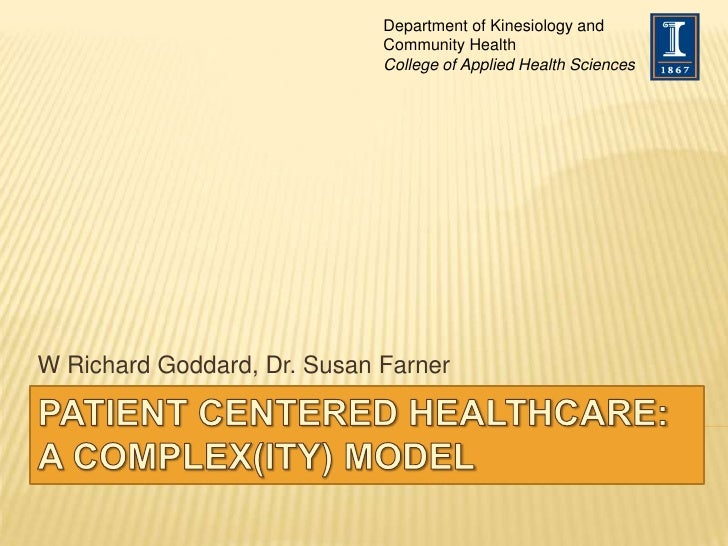 Patient Centered Healthcare: A Complex(ity) Model<br />W Richard Goddard, Dr. Susan Farner<br />Department of Kinesiology ...