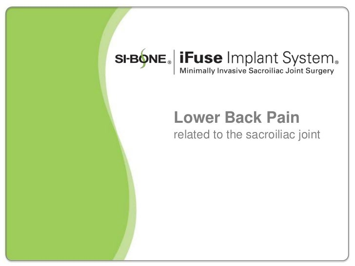 Lower Back Painrelated to the sacroiliac joint
