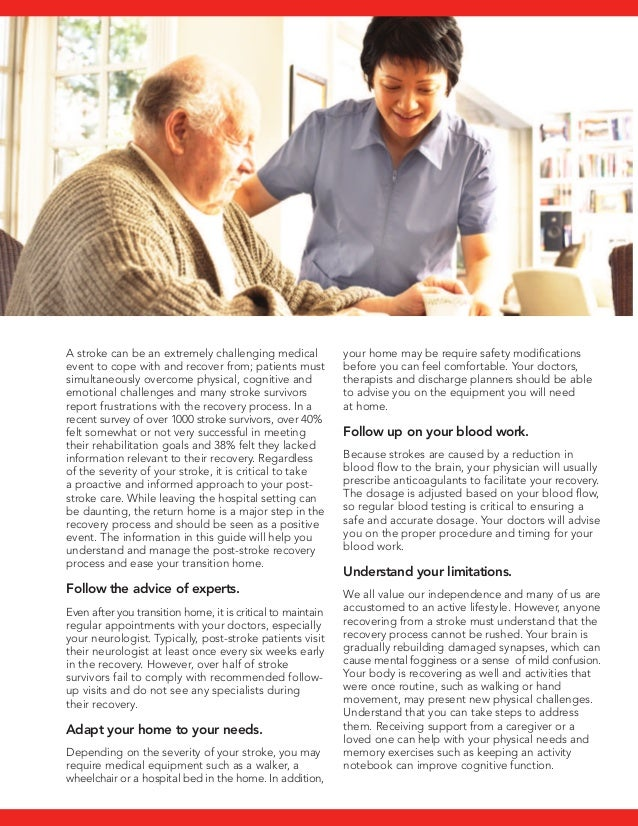 Patient guide for post stroke care