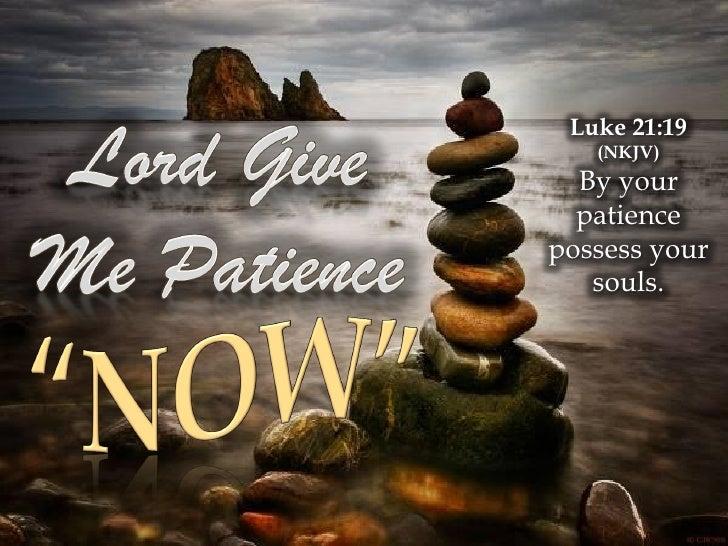 Luke 21:19    (NKJV)   By your   patience possess your    souls.