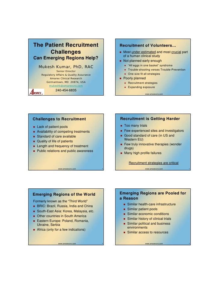The Patient Recruitment                            Recruitment of Volunteers…       Challenges                            ...