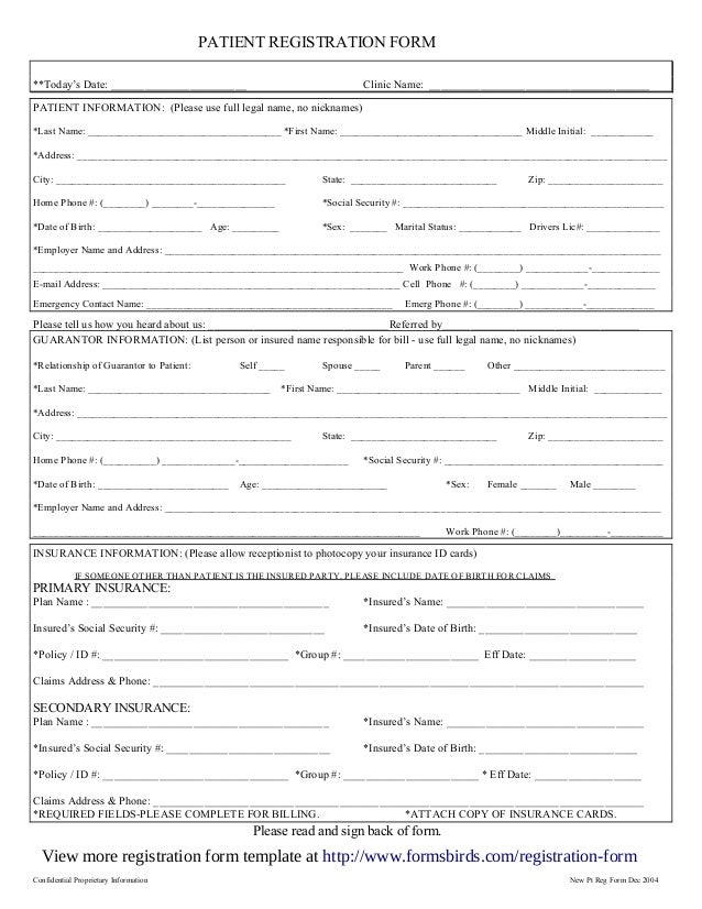 Confidential Proprietary Information New Pt Reg Form Dec 2004 PATIENT REGISTRATION  FORM **Todayu0027s Date ...  Paper Registration Form Template