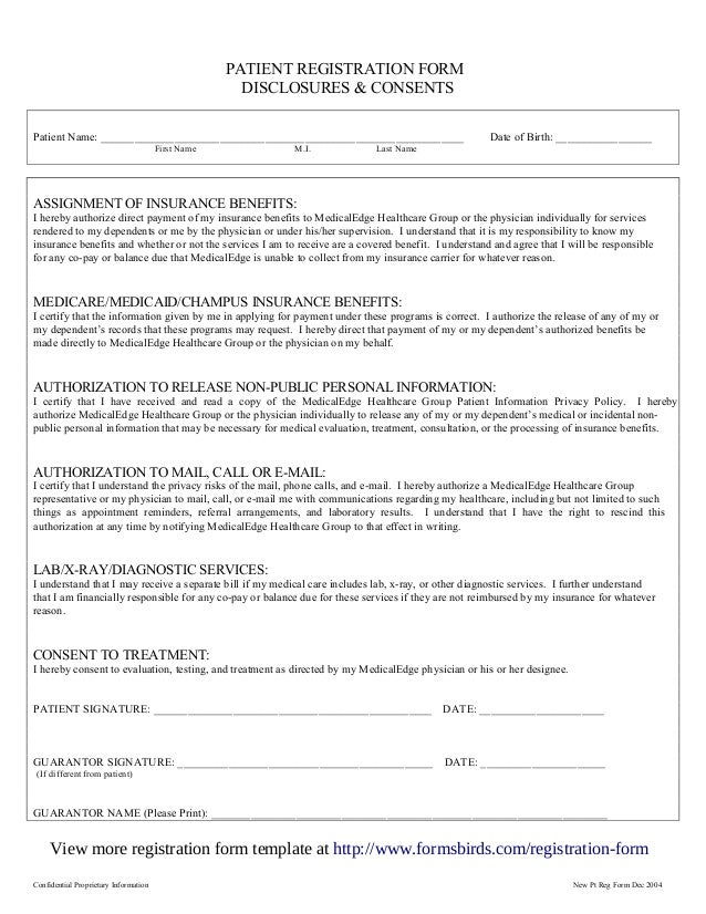 Registration form template 2 confidential proprietary information new pt reg form dec 2004 patient pronofoot35fo Gallery