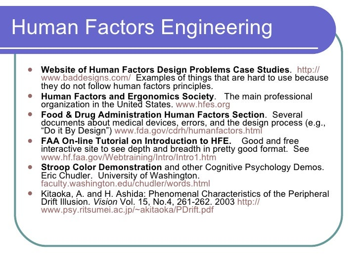 Patient Safety And Human Factors Engineering Spring2006