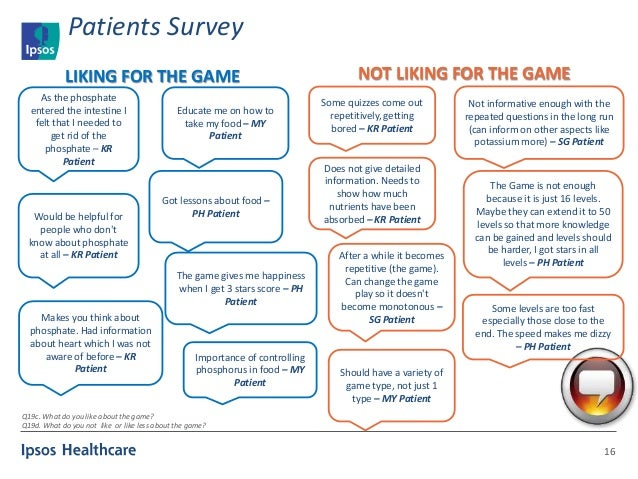 Patients Survey 16 As the phosphate entered the intestine I felt that I needed to get rid of the phosphate – KR Patient Wo...