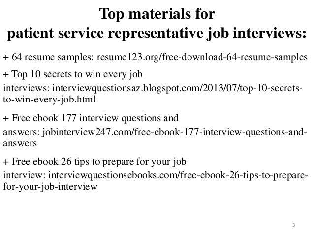 patient service representative job interview questions and