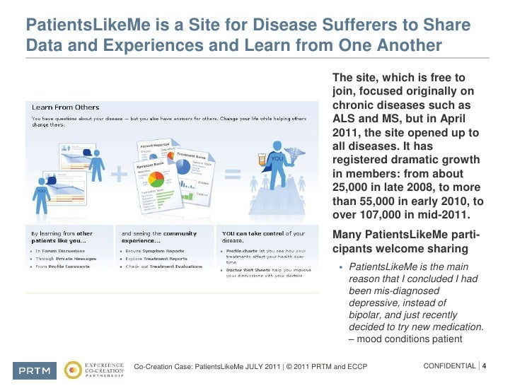 case patients like me The company has worked with every major pharmaceutical company and a range of government organizations to bring the patient like comment share patientslikeme.