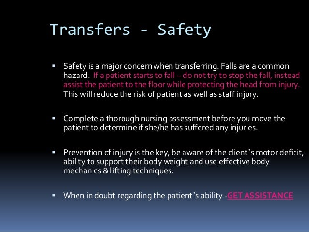 lifting or transferring patients is