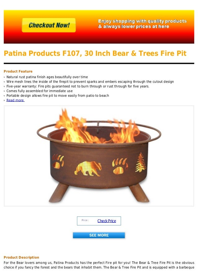 Patina Products F107 30 Inch Bear Trees Fire Pit