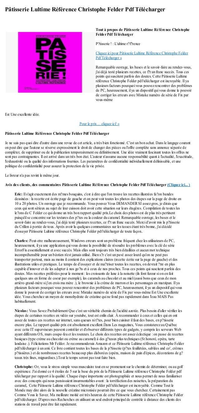 PATISSERIE GRATUIT CHRISTOPHE LIVRE TÉLÉCHARGER FELDER PDF