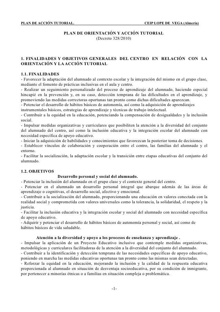 PLAN DE ACCIÓN TUTORIAL.                                               CEIP LOPE DE VEGA (Almería)                        ...
