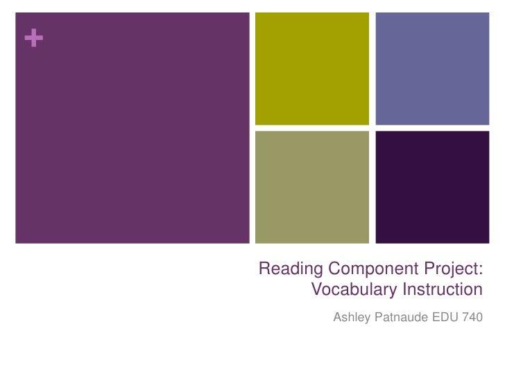 +    Reading Component Project:          Vocabulary Instruction             Ashley Patnaude EDU 740