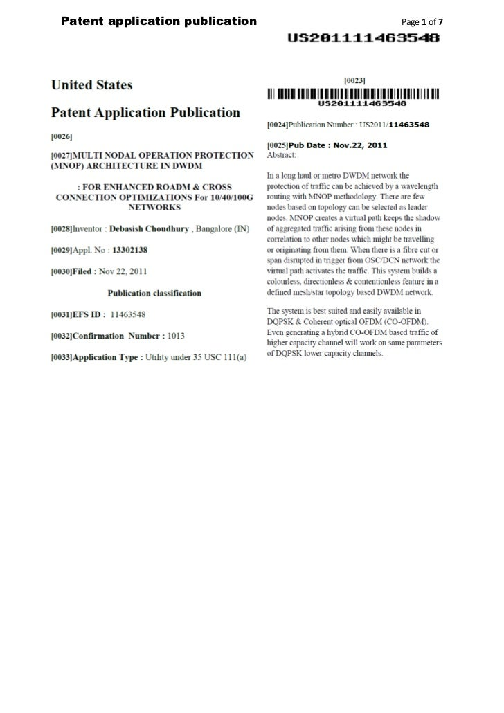 Patent application publication   Page 1 of 7