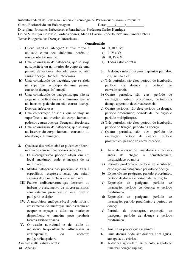 Instituto Federal de Educação Ciência e Tecnologia de Pernambuco Campus PesqueiraCurso: Bacharelado em Enfermagem         ...