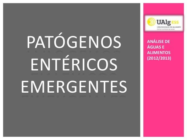PATÓGENOSENTÉRICOSEMERGENTESANÁLISE DEÁGUAS EALIMENTOS(2012/2013)