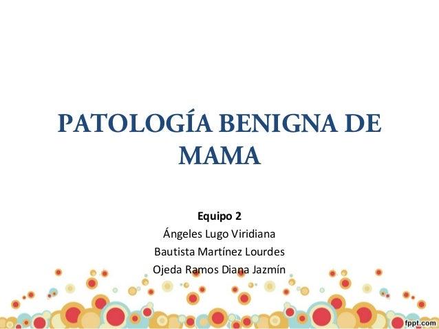 PATOLOGÍA BENIGNA DE MAMA Equipo 2 Ángeles Lugo Viridiana Bautista Martínez Lourdes Ojeda Ramos Diana Jazmín