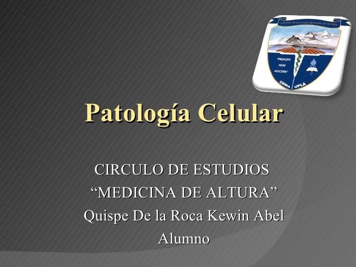 """Patología Celular CIRCULO DE ESTUDIOS  """" MEDICINA DE ALTURA"""" Quispe De la Roca Kewin Abel Alumno"""