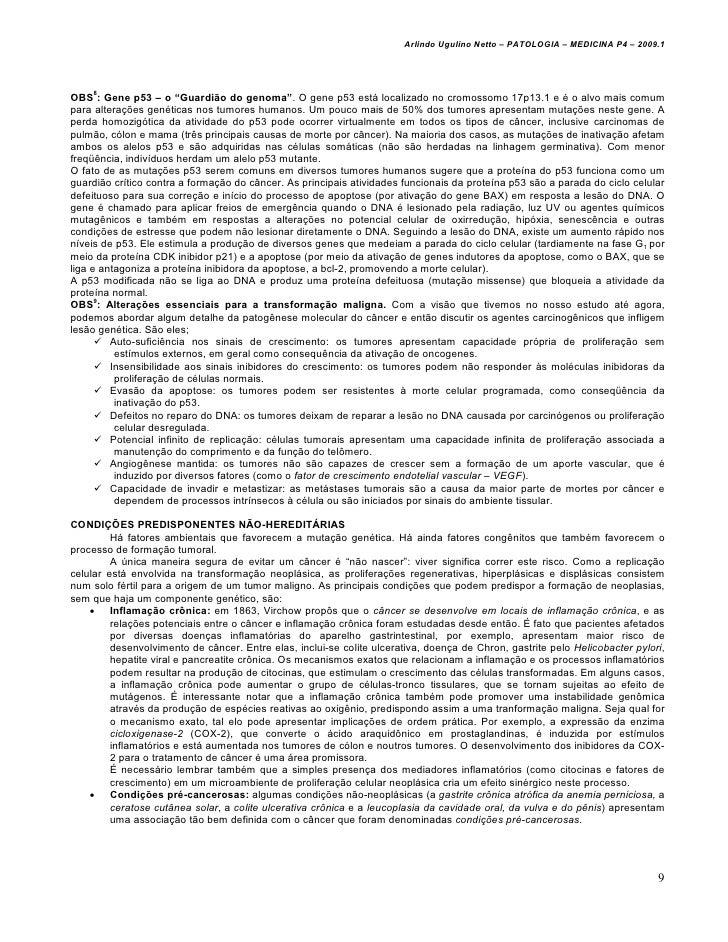 """Arlindo Ugulino Netto – PATOLOGIA – MEDICINA P4 – 2009.1OBS8: Gene p53 – o """"Guardião do genoma"""". O gene p53 está localizad..."""