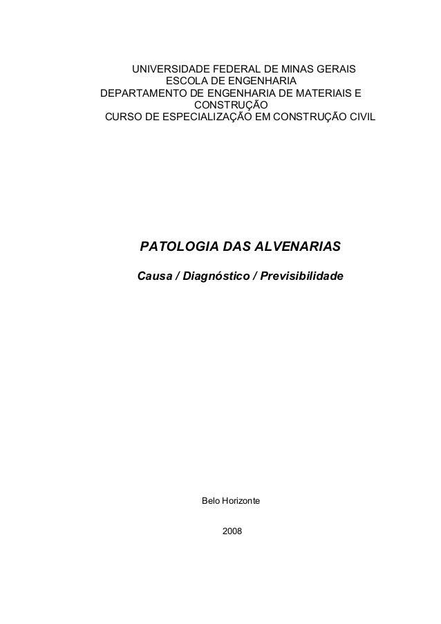 UNIVERSIDADE FEDERAL DE MINAS GERAIS ESCOLA DE ENGENHARIA DEPARTAMENTO DE ENGENHARIA DE MATERIAIS E CONSTRUÇÃO CURSO DE ES...