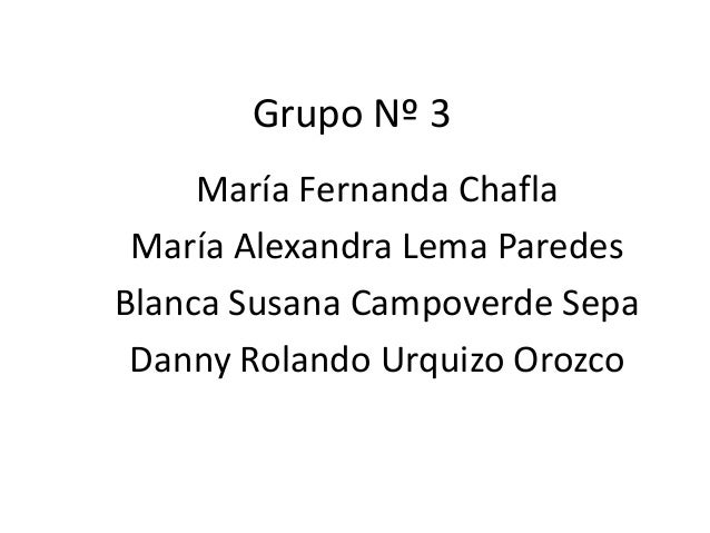 Grupo Nº 3 María Fernanda Chafla María Alexandra Lema Paredes Blanca Susana Campoverde Sepa Danny Rolando Urquizo Orozco