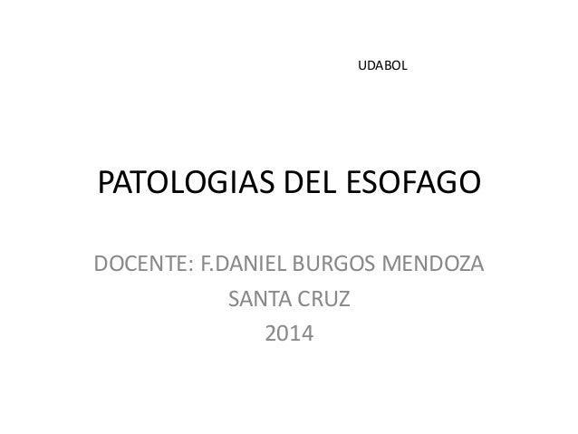 PATOLOGIAS DEL ESOFAGO  DOCENTE: F.DANIEL BURGOS MENDOZA  SANTA CRUZ  2014  UDABOL