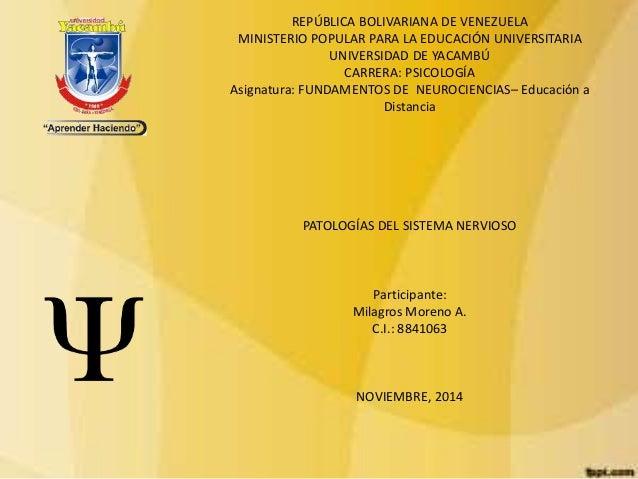 REPÚBLICA BOLIVARIANA DE VENEZUELA  MINISTERIO POPULAR PARA LA EDUCACIÓN UNIVERSITARIA  UNIVERSIDAD DE YACAMBÚ  CARRERA: P...