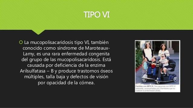 TIPO VI  La mucopolisacaridosis tipo VI, también conocido como síndrome de Maroteaux- Lamy, es una rara enfermedad congen...