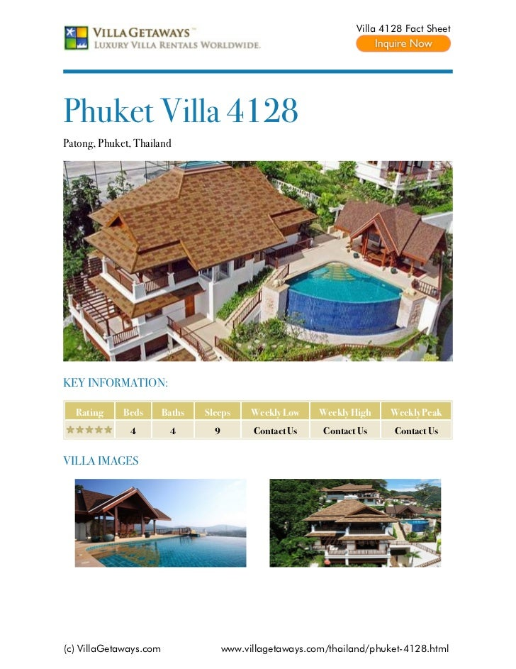 Villa 4128 Fact SheetPhuket Villa 4128Patong, Phuket, ThailandKEY INFORMATION:  Rating     Beds       Baths   Sleeps      ...