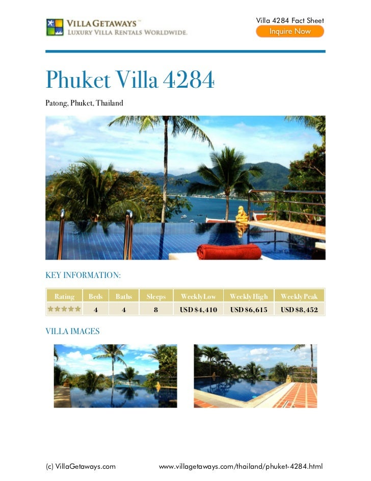 Villa 4284 Fact SheetPhuket Villa 4284Patong, Phuket, ThailandKEY INFORMATION:  Rating     Beds    Baths   Sleeps      Wee...
