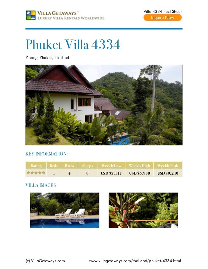 Villa 4334 Fact SheetPhuket Villa 4334Patong, Phuket, ThailandKEY INFORMATION:  Rating     Beds    Baths   Sleeps      Wee...
