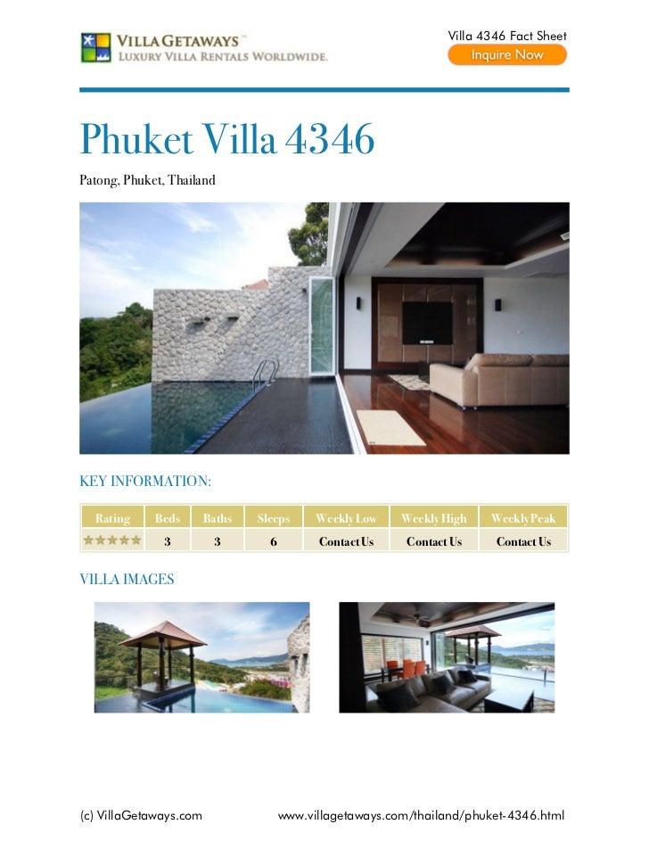Villa 4346 Fact SheetPhuket Villa 4346Patong, Phuket, ThailandKEY INFORMATION:  Rating     Beds       Baths   Sleeps      ...